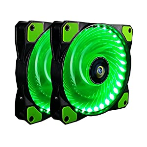 120mm PC Case Cooling Fan,CONISY Gaming 120 mm Super Silent Computer LED Cooler High Airflow Fans for Desktops - Green (2 Pack)
