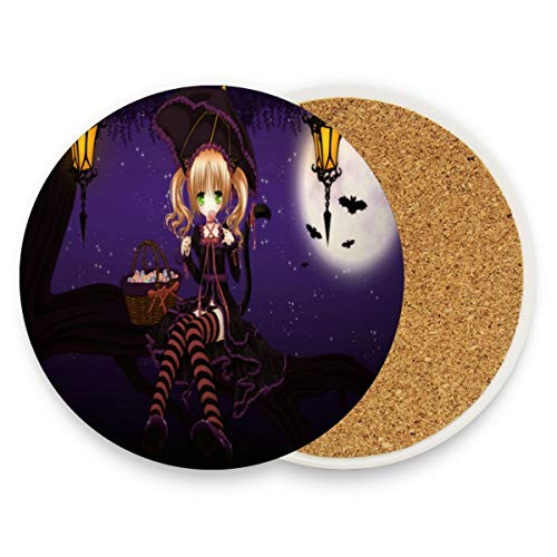 Coasters for Drinks,Special Halloween Anime Wallpaper Ceramic Round Cork Trivet Heat Resistant Hot Pads Table Cup Mat Coaster-Set of 4 Pieces