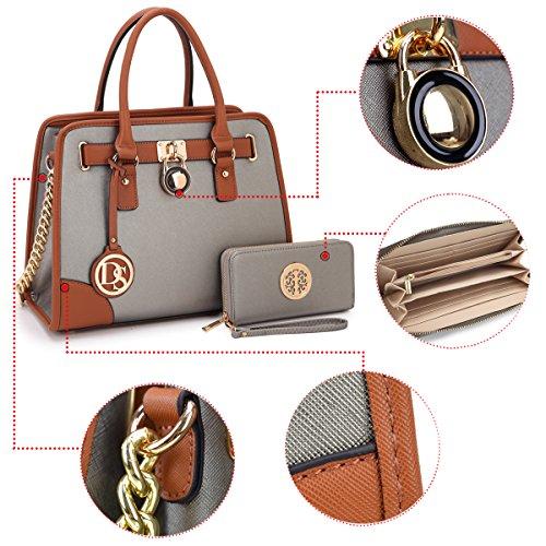 Dasein Women's Designer Padlock Belted Top Handle Satchel Handbag Purse Shoulder Bag With Matching Wallet (02-6892 Simple Color Pewter + Matching wallet) by Dasein (Image #5)