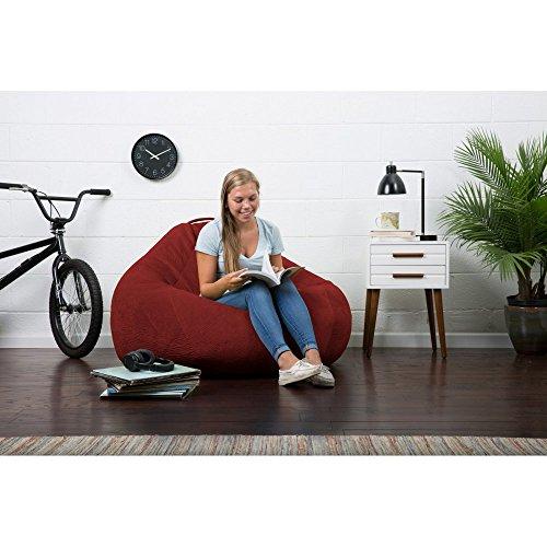 Merlot Bean Bag Chair - Bean Bag Chair Lux Teardrop Ripple, for Teen, Child,Family Room, Bedroom, Living Room (Merlot)