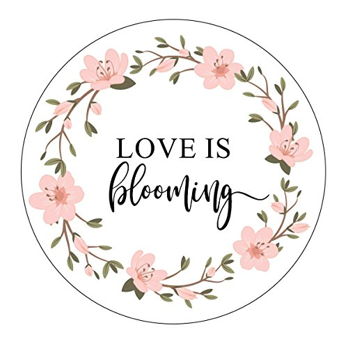 Love is Blooming Stickers, Pink Wreath Flowers, Pretty Favor Stickers, Let Love Grow Favor Stickers, Labels, Seed Favors, Love Grow, Favor Stickers, Favor Tags, Garden Wedding Favor ()