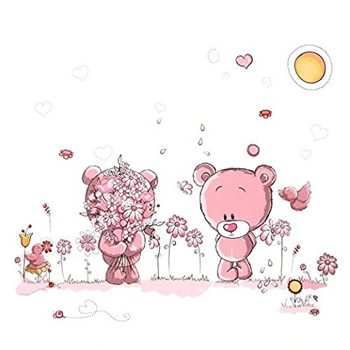 Yosoo Etiqueta De La Pared De Pink Bear De PVC/decoracion De La Pared Del Dormitorio De Las Niñas,cuarto De Infantil