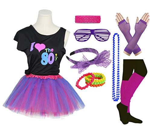 Girls I Love The 80's Disco T-Shirt for 1980s Theme Party Outfit (Purple2, 7-8 Years)