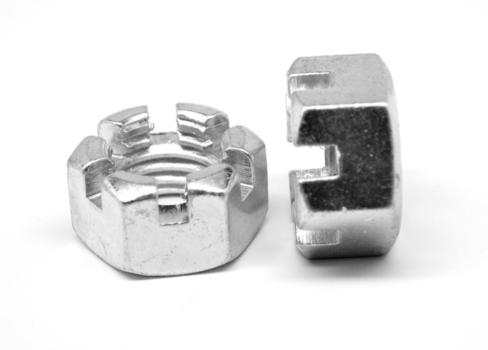 2''-12 Grade 2 Slotted Finished Hex Nut Low Carbon Steel Zinc Plated Pk 5 by ASMC Industrial