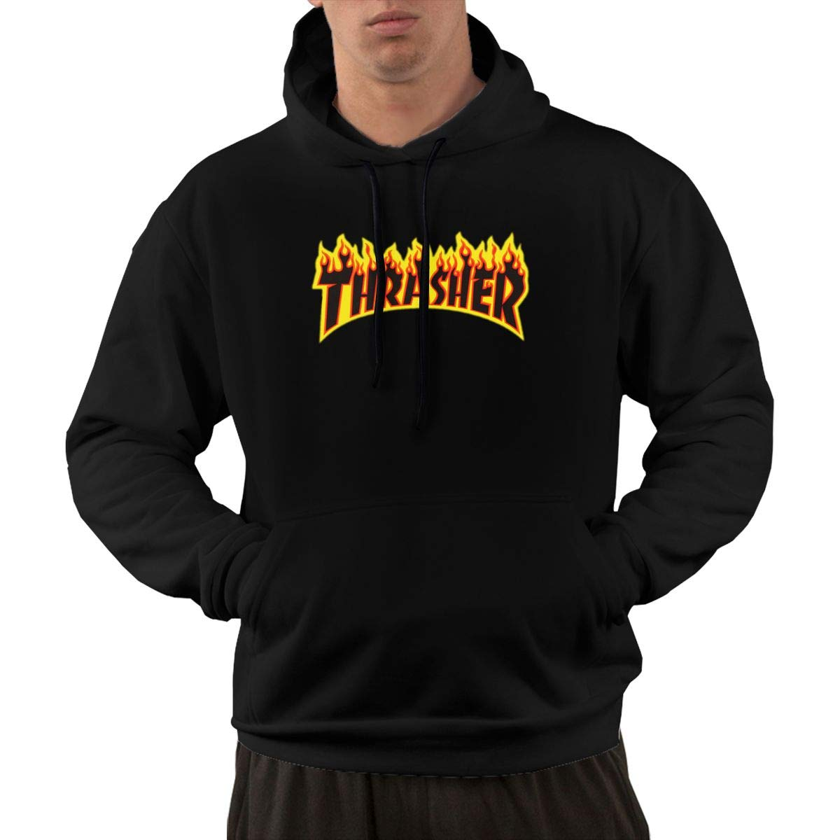 Thrasher Magazine Men's Lone Sleeve Hoodies Sweatshirt Fashion Graphic Pullover With Pocket Little Petman