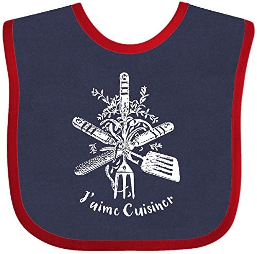 Inktastic J'aime Cuisiner Baby Bib Navy and Red