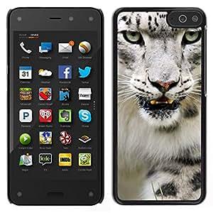 // PHONE CASE GIFT // Duro Estuche protector PC Cáscara Plástico Carcasa Funda Hard Protective Case for Amazon Fire Phone / Angry Roar Leopard Snow White Furry /