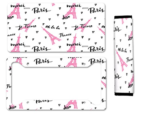 Love Paris Je Taime Merci Auto Car License Plate Frame Seat Belt Cover Gift Set
