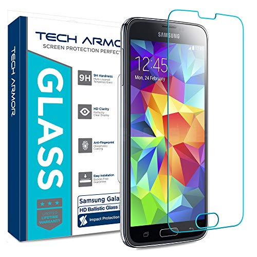 Samsung Galaxy S5 Glass Screen Protector, Tech Armor Premium Ballistic Glass [1-Pack] (Hd Protector Galaxy S5 Screen)