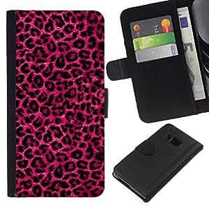 [Neutron-Star] Modelo colorido cuero de la carpeta del tirón del caso cubierta piel Holster Funda protecció Para HTC One M7 [Pink Purple Leopard Pattern Fur Bling]