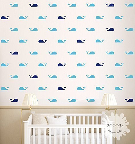 A room with Whales / Whale Wall Decal / Fish Wall Decal / 60 Whales Sticker / Kids Room Wall Decal / Home Decor / Nursery Wall Decal / 3 colors whales / gift