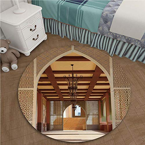 - Home Decor Carpet Short Hairs Crystal Velvet Carpets for Living Room 2.95 Ft Diameter Arabian,Traditional Arabian Architecture in Doha Qatar Middle East Oriental Landmark Hotel,Light Brown