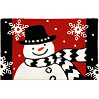Jellybean Snowman with Scarf Indoor Outdoor Accent Rug