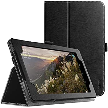 Poetic SlimFolio All New Amazon Fire 7 2017 Case Slim Leather Stand Folio Case with Auto Wake/Sleep for Amazon Fire 7 (7th Generation, 2017 Release) Black