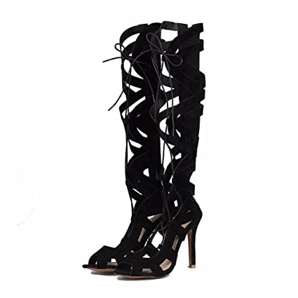 Lace Up zapatos de tacones altos cordones de gamuza mate canister botas  zapatos Size ad05f32eb69e0