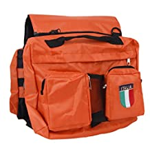 Saddle Bag Pet Dogs Backpack Travel Hiking Harness Pack-Orange and Green/ Comes with One Mesh Holder, Hold Some Food for Your Dog