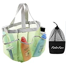 8 Pockets Quick Drying Mesh Shower Caddy Organizer Toiletry Tote Makeup Cosmetic Storage Bag Travel Camp Gym Dorm Bathroom Accessory Pouch Case Holder Handles (Green # Little Mesh)