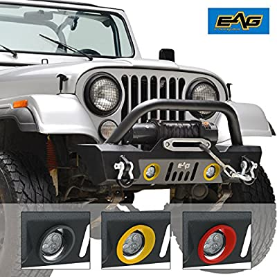 EAG Stubby Front Bumper With LED Lights and Multiple Colored ABS Light Surrounds for 76-86 Jeep Wrangler CJ