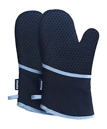 Kitchen Oven Mitts With Non-Slip Silicone Printed - 1 Pair of Heat Resistant Oven Gloves for Cooking,Baking,Grilling,Barbecue Potholders,Black,Honla