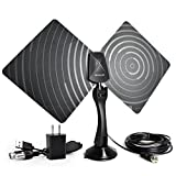 Indoor TV Antenna 50 Mile Range Ultra-Thin,High Performance Coax Cable, With Detachable Amplifier Signal Booster BFDT01 (Black)