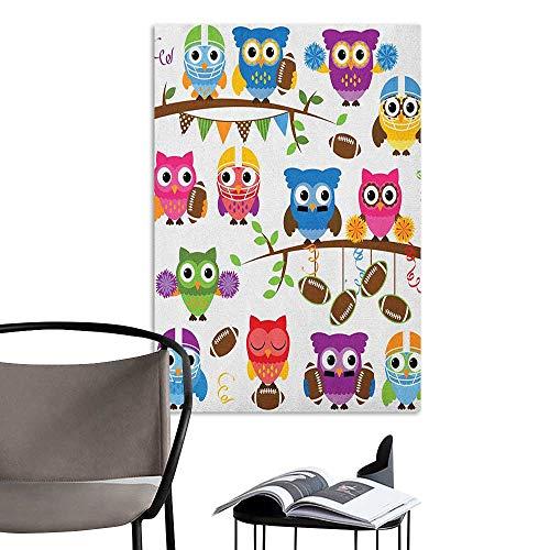 Scenery Wall Sticker Owls Sporty Owls Cheerleader League Team Coach Football Themed Animals Cartoon Art Style Multicolor 3D Decorative Sticker W16 x H20 -