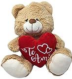 Oso de peluche beige de 30 cm, de calidad Premium, con corazón de Te Amo. Ideal para San Valentín o para declararle el amor a tu ser querido