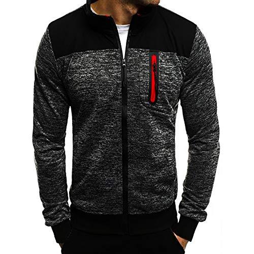 HULKAY Christmas Men Tops Sale Long Sleeve Standing Neck Patchwork Zipper Blouse Sweatshirt Coats with Pockets(Deep Gray,2XL)