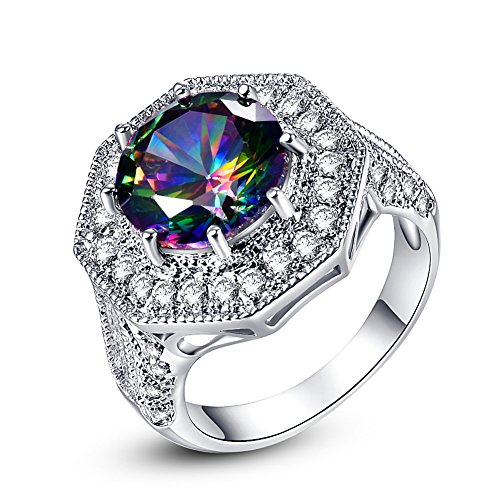 Psiroy 925 Sterling Silver 8mm Rainbow Topaz Filled Ring Cluster Cocktail Band