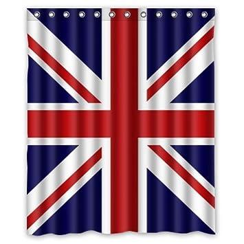 Union Jack UK Flag Background Waterproof Shower Curtain Bath Size