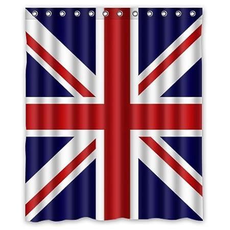 Shower Curtain Union Jack UK Flag Background Waterproof Bath Size 60quot