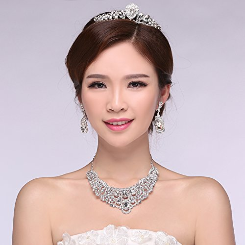 Generic 2018 married bridal headdress three-piece jewelry accessories yarn hair accessories married crown tiara earring Necklace Set 007 ()