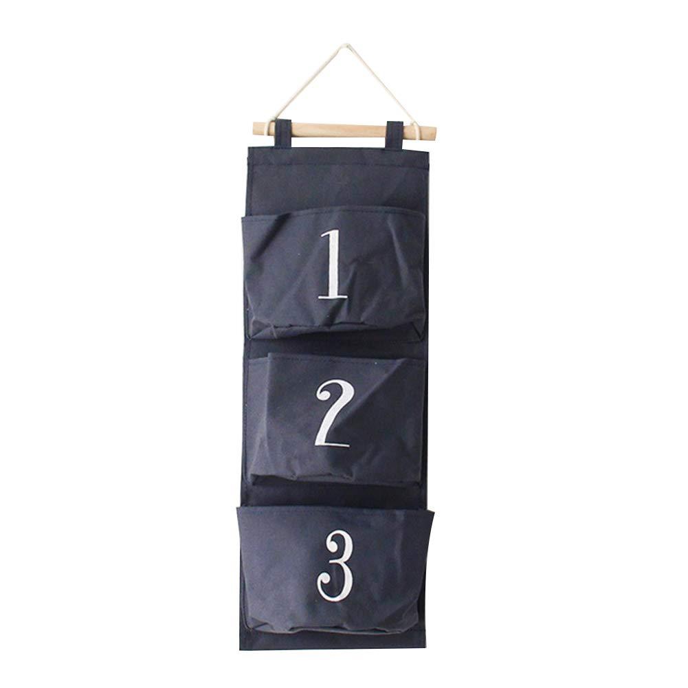Fablcrew Over the Door Linen Storage Pockets, Wall Door Closet Hanging Storage Organizer, 3 Pockets, Black