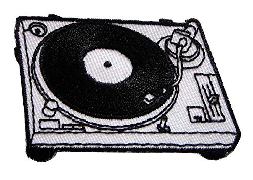 (White Turntable and Record Player Embroidered Iron on Patch Free Shipping)