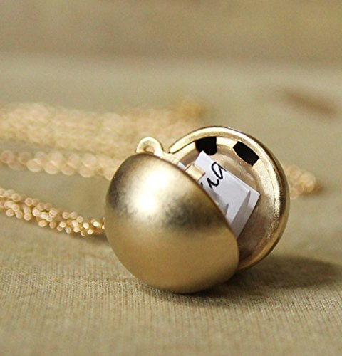 Matte Gold Finish Secret Message Ball Locket Necklace