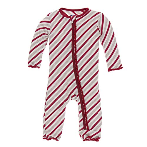 Kickee Pants Little Girls Holiday Print Muffin Ruffle Coverall with Zipper - Rose Gold Candy Cane Stripe, 6-9 Months