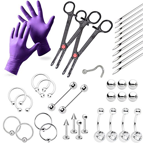 38-Piece Professional Piercing Kit - Lip, Nipple, Belly, Eyebrow, Tongue, Ear Piercing Jewelry - Needles, Gloves and Tools Included - Body Piercing Surgical Tools