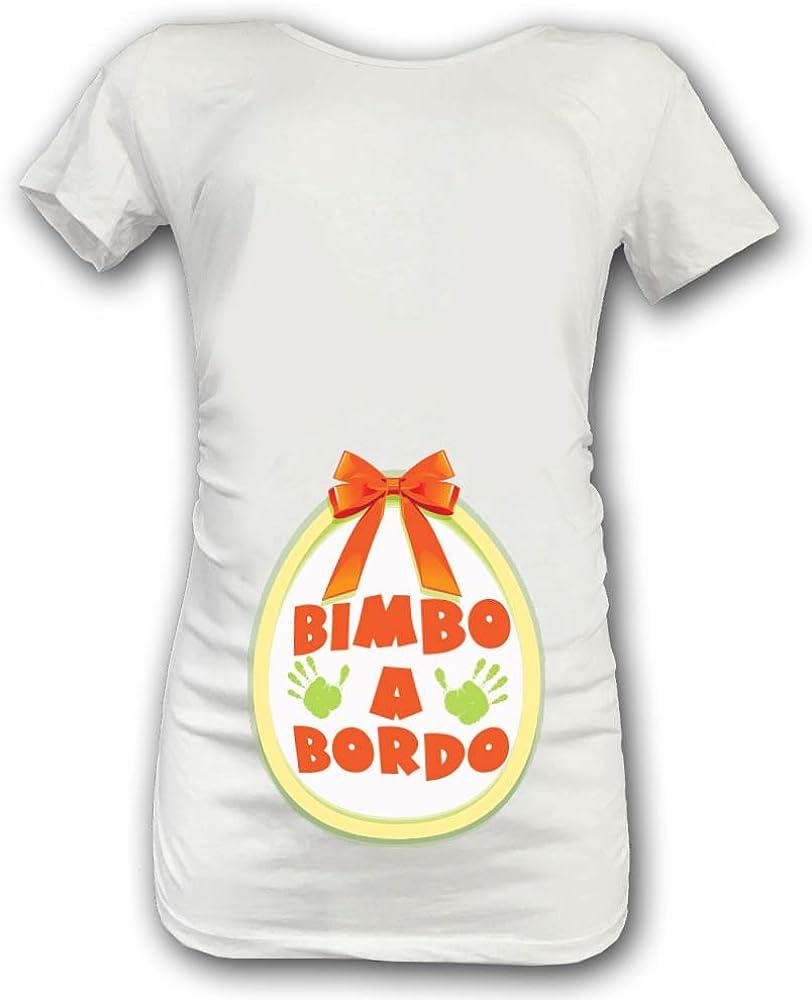 T Shirt Maglia Premaman Idea Regalo Pasqua Fiocco