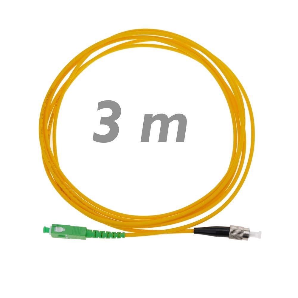 BeMatik Cable de Fibra /óptica FC//PC a SC//APC monomodo simplex 9//125 de 3 Metros OS2