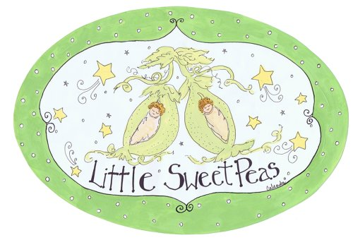 The Kids Room by Stupell Little Sweet Peas with Green Border Oval Wall Plaque