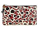 Gucci Leopard Print Bamboo Leather Pouch Clutch Red and Black
