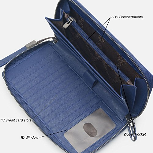 Women RFID Blocking Wallet Leather Zip Around Clutch Large Travel Purse Wrist Strap (Navy Bllue) by Bveyzi (Image #3)