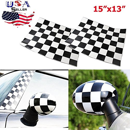 (Checker Checkerboard Racing Flag Vinyl Stickers For Mini Cooper Side Mirrors Cover (Left & Right))
