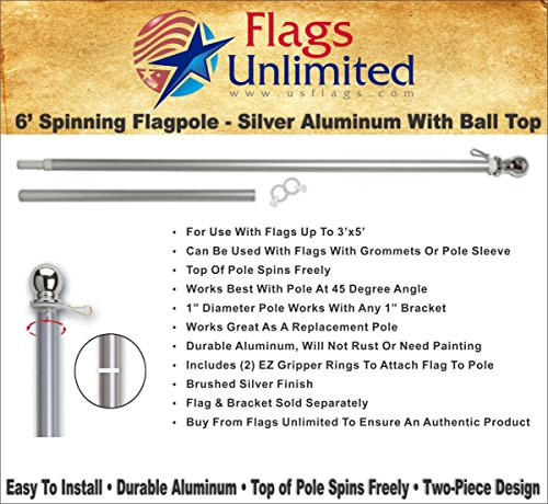 Flag Pole - 6 Foot Silver Brushed Aluminum No Tangle Spinnin