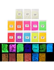 LET'S RESIN 13 Colors Glow in The Dark Pigment Powder, Epoxy Resin Luminous Pigments for Slime,Nails,Epoxy Resin,Acrylic Paint,Fine Art and DIY Crafts, 0.35oz Each