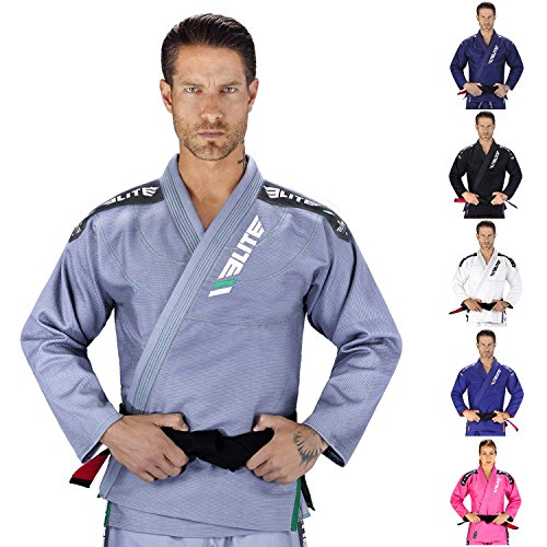 Elite Sports IBJJF Ultra Light Brazilian Jiu Jitsu Gi with Preshrink Fabric and Free Belt, Grey, A3