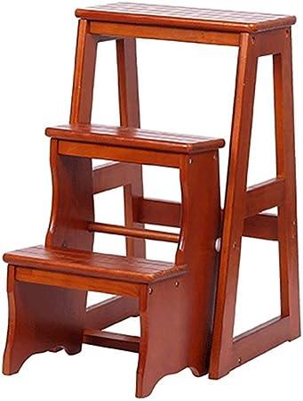 XYFL Taburete con Peldaño Escalera De Mano Plegable Taburete De Madera con 3 Peldaños para Adultos Y Niños Cocina Escaleras De Madera Taburetes Pequeños para Pies Banco De Zapatos,A: Amazon.es: Hogar