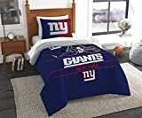 New York Giants Bedding Set Sham NFL 2 Piece Twin Size 1 Comforter 1 Sham Football Linen Bedroom Decor Imported for True Fans Draft