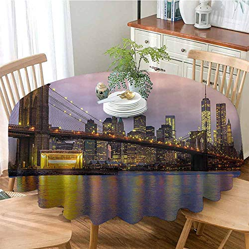 GOMAE Creative Round Tablecloth Sunrise Time at Manhattan Silhouette with Dramatic Lights New York Scene Buffet Table,Parties,Holiday Dinner,Wedding,Picnic,Kitchen Baby Pink Lilac Yellow 43