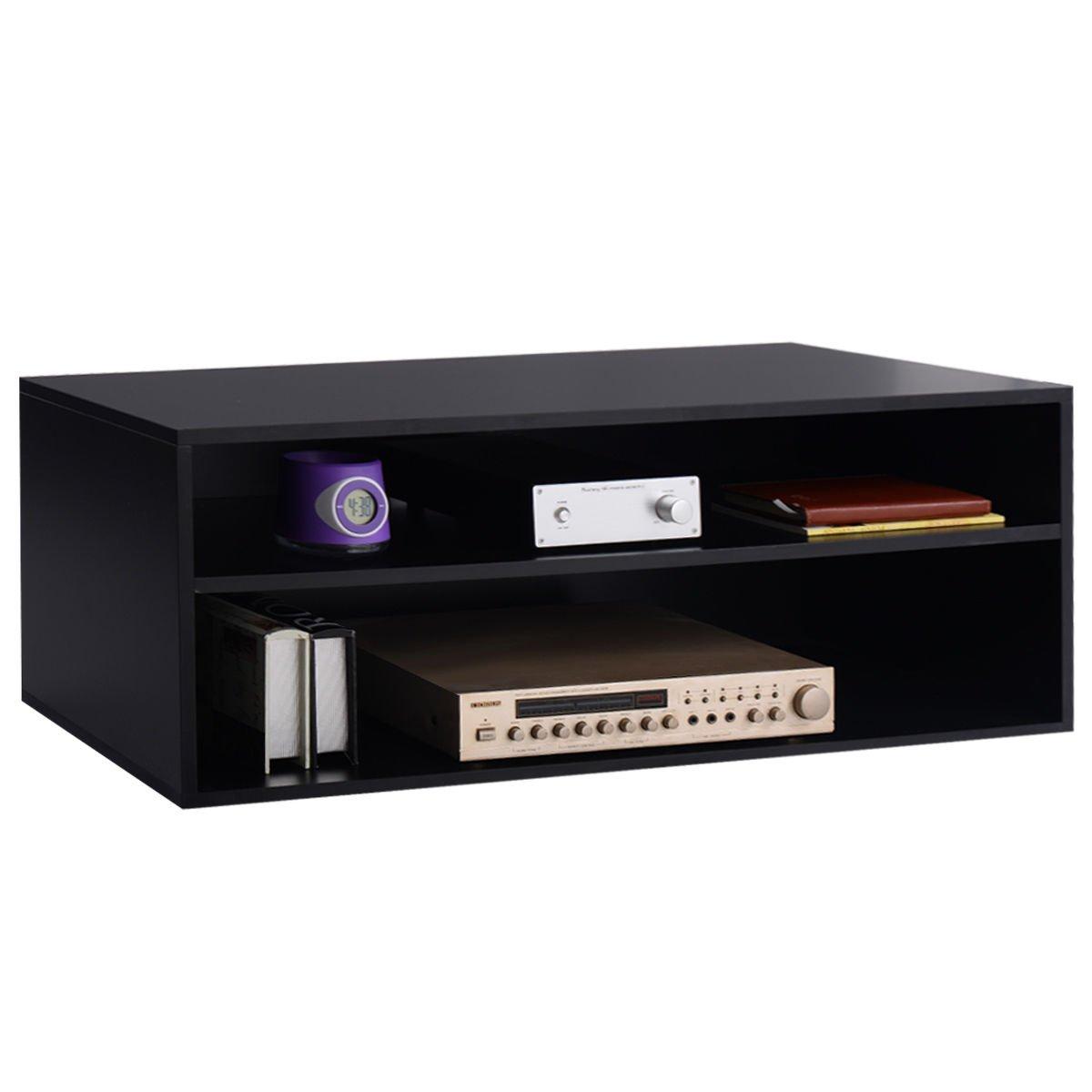 3-Tier Center Console Storage Cabinet Furniture Decor Entertainment New Black 40'' TV Stand