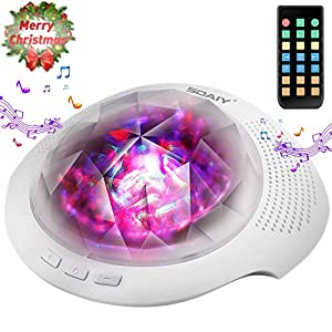 Aurora Night Light , Projector Nightlight Sound Machine with 7 Light Modes , Bluetooth Speaker, 4 Timers and Brightness Adjustable, Projector Noise Machine with Nursery Lamp for Baby, Kids, and Sleep